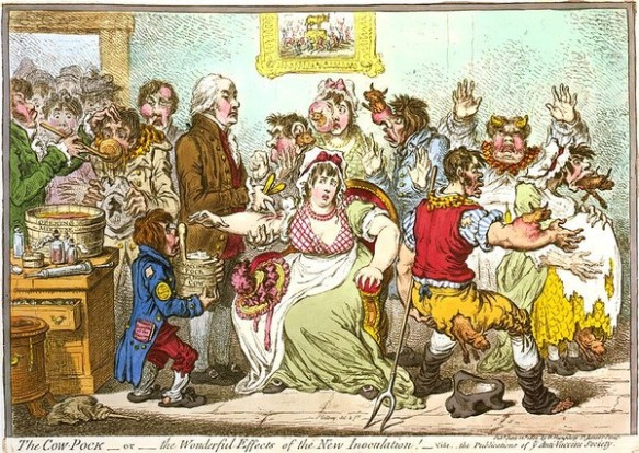 英國漫畫家 James Gillray 曾在 1802 年的漫畫中,譏笑發現及推廣牛痘疫苗的 Edward Jenner ,以為種過牛痘疫苗的人們會長出牛角、牛毛。事實是牛痘疫苗的確滅了天花。