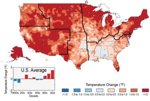 過去 22 年 (1991-2012) ,美國絕大部份的地區都比 1901-1960年的平均為高(阿拉斯加與夏威夷只計 1951-1980 年),千禧年後的氣溫升幅更是前所未見。 Figure source: NOAA NCDC / CICS-NC via US Global Change Research Program