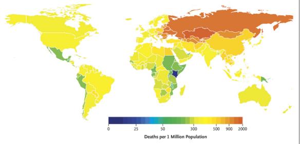 2010 年因過份攝取鈉誘發心臟病而死的數字。 Credit: The New England Journal of Medicine